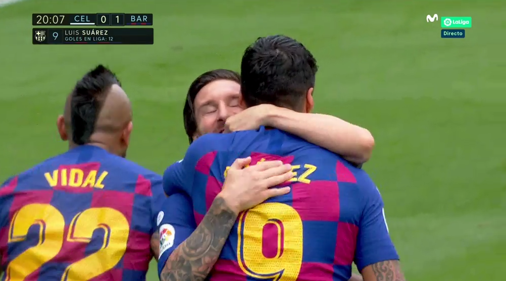 Luis Suárez retrouve le chemin des filets. Capture  Movistar