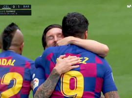 Messi e Luis Suárez comemoram gol contra o Celta. Captura/Movistar+