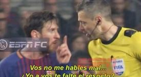 Messi y Skomina discutieron durante el choque. Captura/ESPN