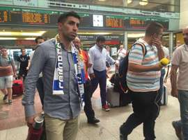 L'international uruguayen, Michael Santos, à la gare de train de Málaga. AreaMalaguista