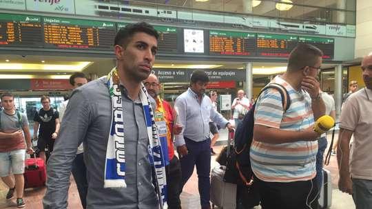 L'international uruguayen, Michael Santos, à la gare de train de Málaga. AreaMalaguista