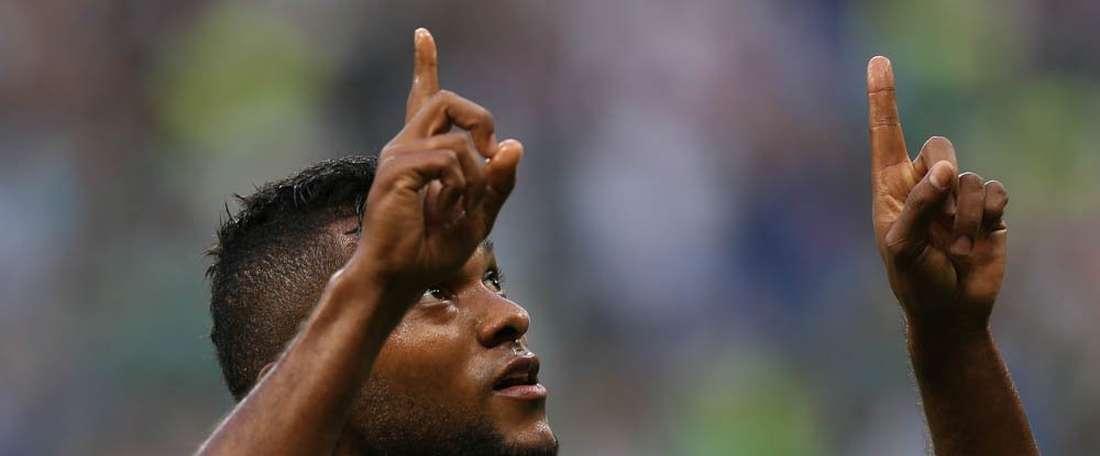 Miguel Borja hizo los dos tantos del equipo. Twitter/Palmeiras