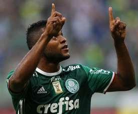 Miguel Borja anotó los dos tantos de Palmeiras. Palmeiras