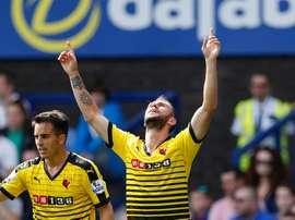 Miguel Layún celebra el primer tanto del Watford. WatfordFC