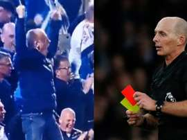 Mike Dean had a great time in the away end on Monday night. EFE/Captura/Twitter