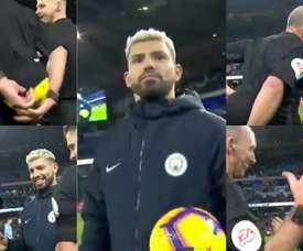 O árbitro decidiu brincar com Agüero. Captura/ManCity