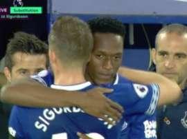 Yerry Mina a joué ses premières minutes en Premier League. Capture