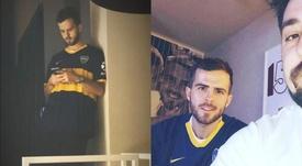 Pjanic pose avec le maillot de Boca. Instagram/miralem_pjanic