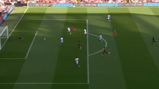 Mo Salah opened the scoring against Brighton. Captura