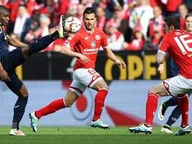 Modeste anotó dos goles en la victoria que sitúa líder al Köln. EFE/Archivo