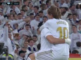 Modric scored the third goal to seal Madrid's win. Captura/Movistar+LaLiga