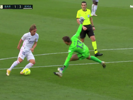 Modric scored after going around Neto repeatedly. Screeenshot/Movistar+LaLiga