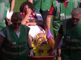 Mohamed Elneny abandonó lesionado el Arsenal-West Ham. Twitter/Captura