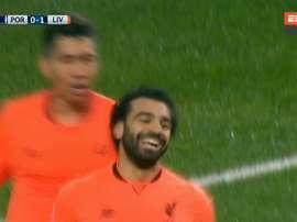 Salah foi só sorrisos no lance do 0-2. Captura/ESPN