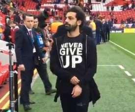 A mensagem de Salah antes da partida. Captura/Liverpool