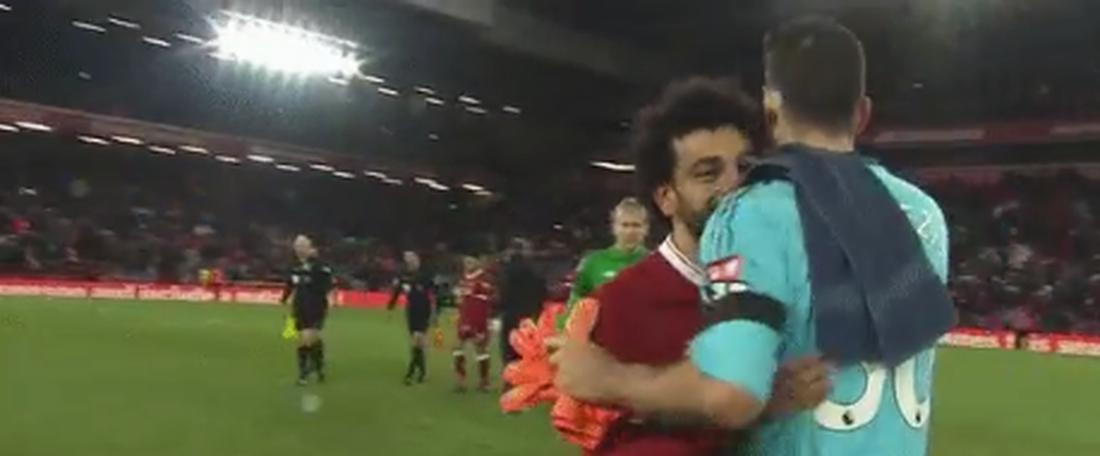 Salah apologised to Karnezis at full-time. Twitter/BTSportFootball