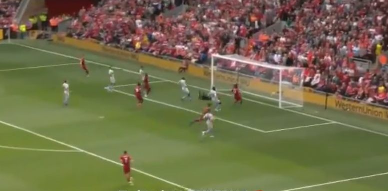 Mohamed Salah gets the first goal against West Ham for Liverpool. Screenshot