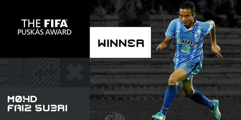 Mohd Faiz Subri marcou um golaço de falta ganhador do prêmio 'Puskás 2016'. FIFA