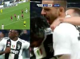 Bonucci foi o primeiro a abraçar Moise Kean depois do golo. Captura/Movistar