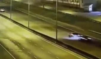 Momento del accidente automovilístico de Nahuel Zárate. Captura/Olé