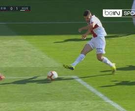 Álex Gallar anotó el primer gol del Huesca en Primera División. BeIN Sports