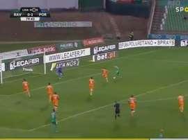 Nuno Santos dominou e escolheu o lado - o certo, e fez o 1-2. Captura/Twitter SportTV