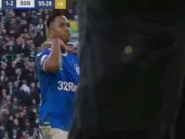 Le geste de Morelos lors de la finale du 'clasico' écossais. Capture/Astv