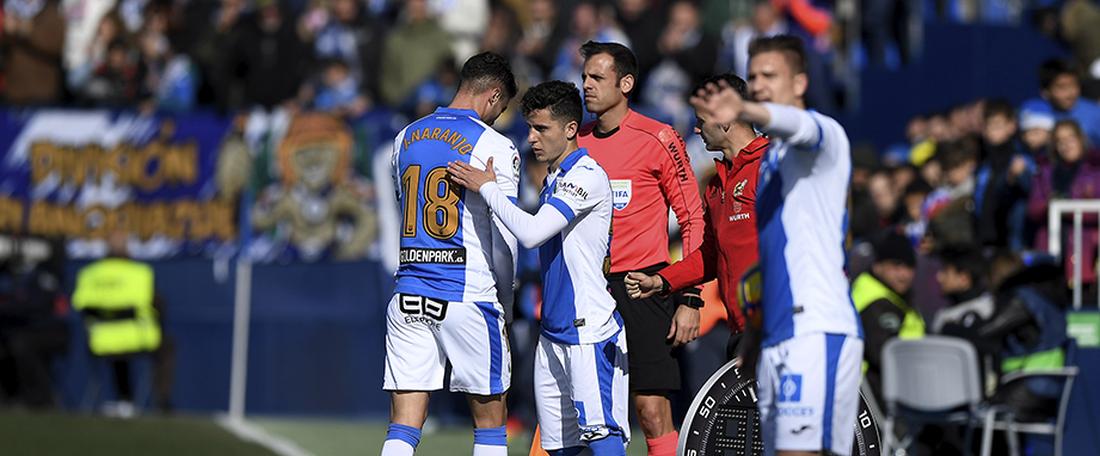 Histórico debut de Jaime Sierra, centrocampista del Leganés. CDLeganés/Jua