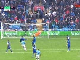 Gündogan nettoie la lucarne gauche des cages de Cardiff. Capture/ESPN