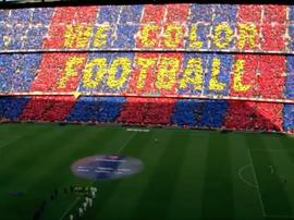 O Barça prepara um mosaico solidário para o jogo contra o Atlético Twitter/FCBarcelona_es