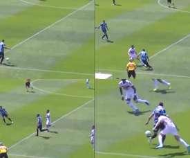 Everton apresenta a habilidade brasileira a Juanfran. Capturas/EsporteInterativo