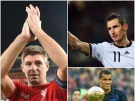 Montage de Gerrard, Rivaldo et Klose. BeSoccer