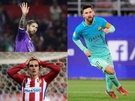 Montage de Sergio Ramos, Leo Messi et Griezmann. BeSoccer