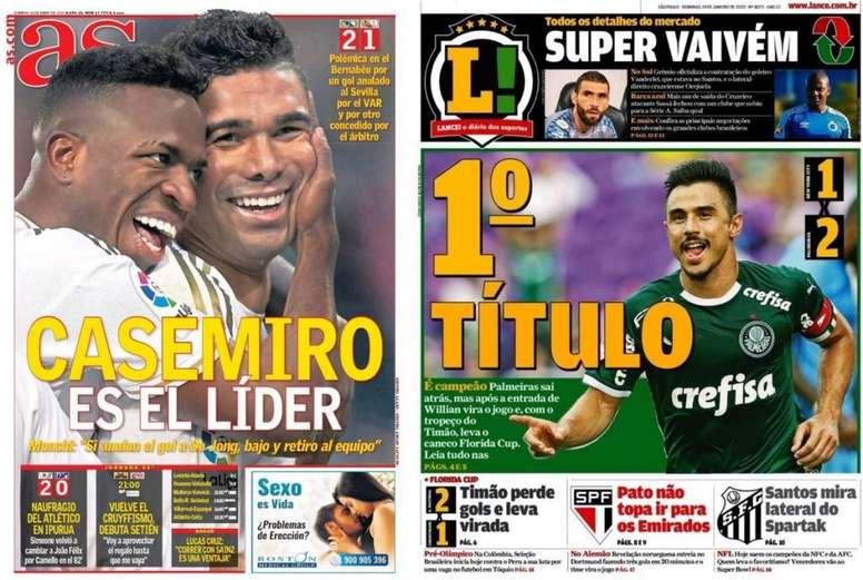 Capa do jornal Lance SP, Brasil 19-01-20. LanceSP!