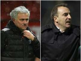 Mourinho e Carvalhal estarão hoje frente a frente. AFP/BeSoccer