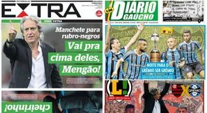 Montagem das capas dos jornais Diário Gaúcho, Extra e Lance!