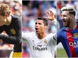 Montagem de Atlético, Real Madrid e Barça. BeSoccer