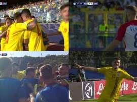 Rumanía se llevó la primera parte. Captura/FutbolMediaset