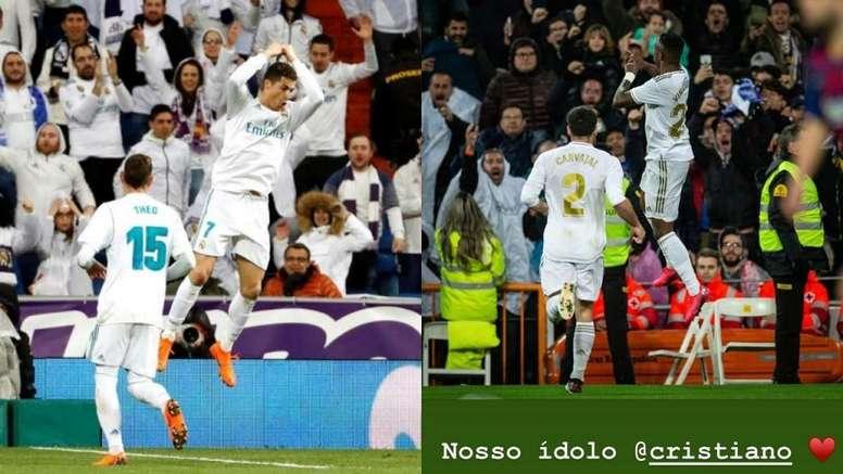 Vinícius comemorou o gol como Cristiano Ronaldo. AFP/Captura/Instagram/viniciusjunior