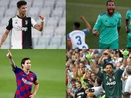 Cristiano, Ramos, Messi e Buffon estão entre os mais experientes na Champions. EFE - AFP