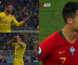 Ukraine beat Portugal. Capturas/ESPN/FutbolMediaset