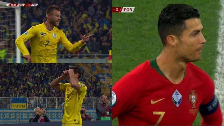 Le Portugal incrédule après deux buts de l'Ukraine en 30 minutes. Captures/ESPN/FutbolMediaset