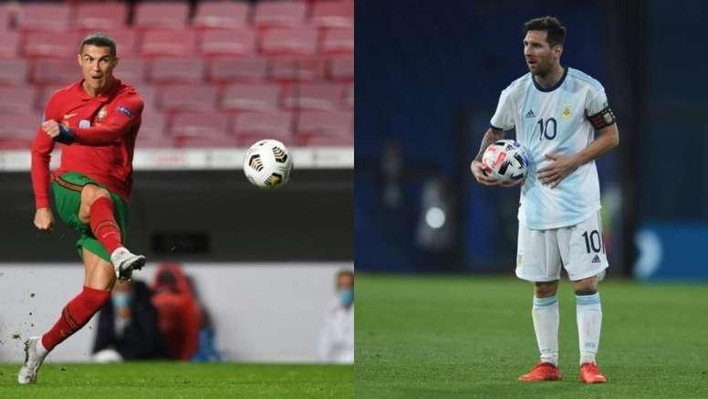 Cristiano marca a más selecciones, Messi a más selectas. AFP - EFE