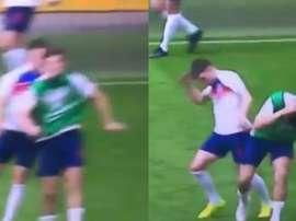 Tremendo cabezazo entre Rice y Maguire en un calentamiento. Capturas/BBC