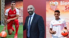 Diego Carlos, Monchi y Koundé. Montaje/EFE