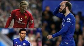 El paso de estas estrellas por Inglaterra no fue el esperado. Montaje/ChelseaFC/AFP