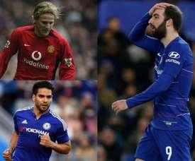Les attaquants qui ont déçu en Premier League. Montage/ChelseaFC/AFP