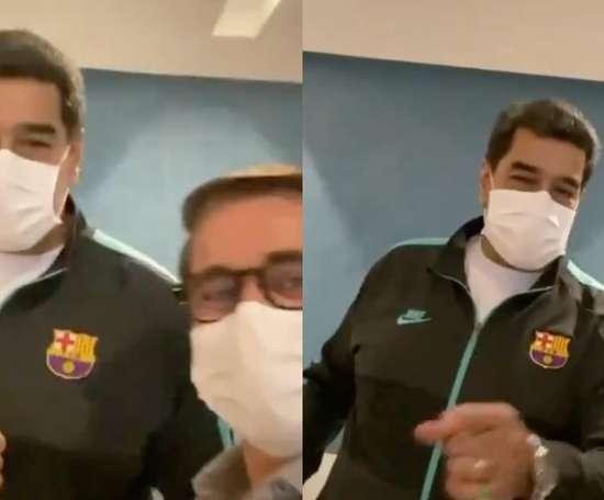 Maduro não esconde sua admiração pelo Barça. Twitter/rafaellacava10