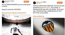 El Valencia calentó a sus aficionados por Twitter. Twitter/valenciacf
