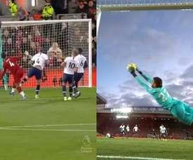 Gazzaniga, héroe del Tottenham en Anfield en la primera mitad. Capturas/DAZN